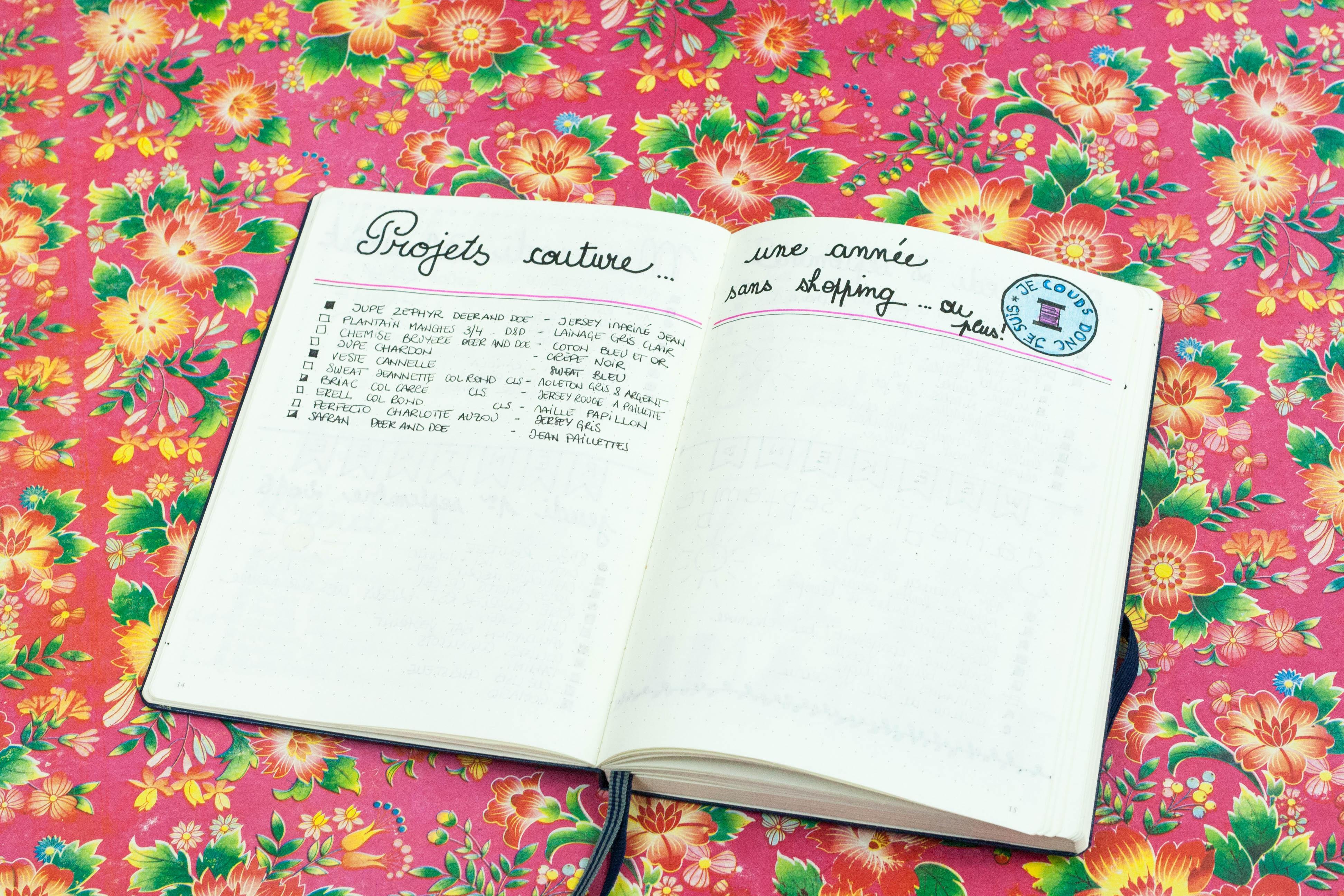 Liste de mes projets de couture dans mon Bullet Journal