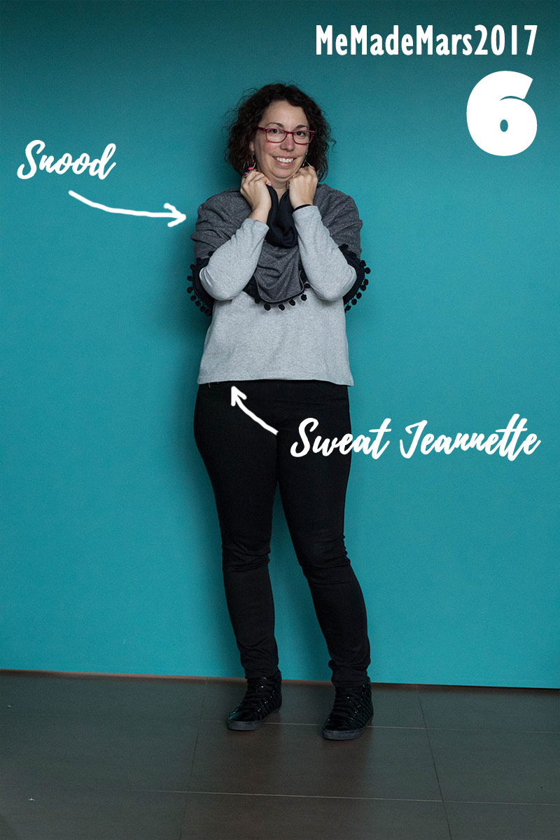 Me made Month Mars 2017, jour 6 : Sweat Jeannette - coudre le stretch de marie poisson et Snood de make my lemonade