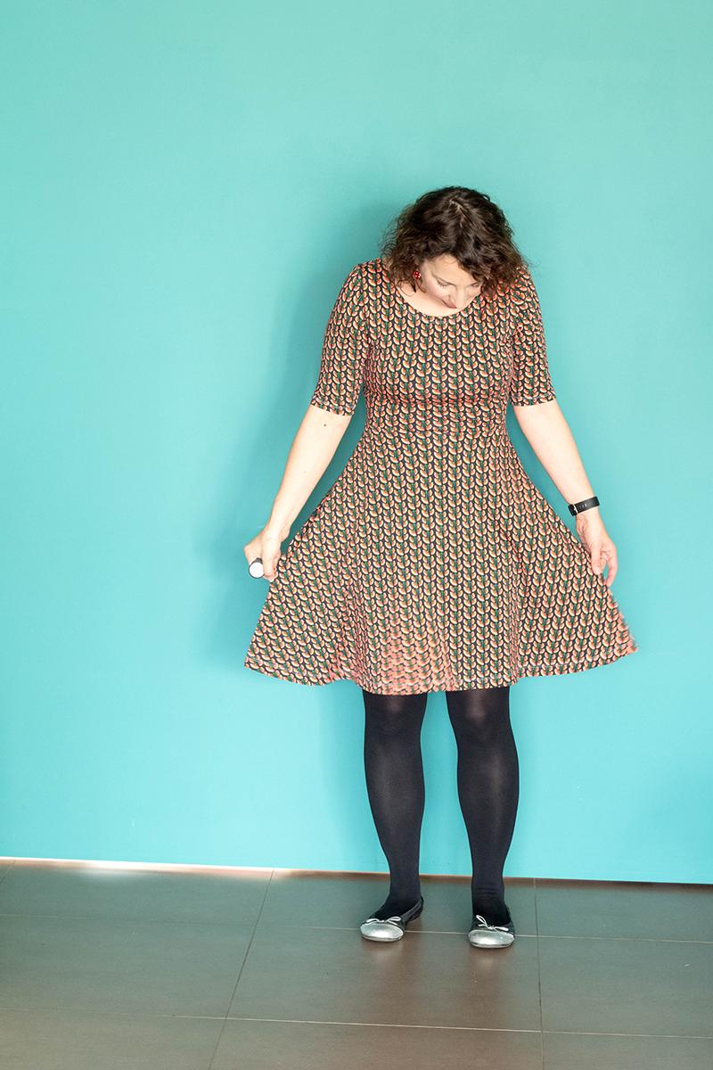 Robe Moneta de Colette Patterns, jupe redessinée pour supprimer les fronces