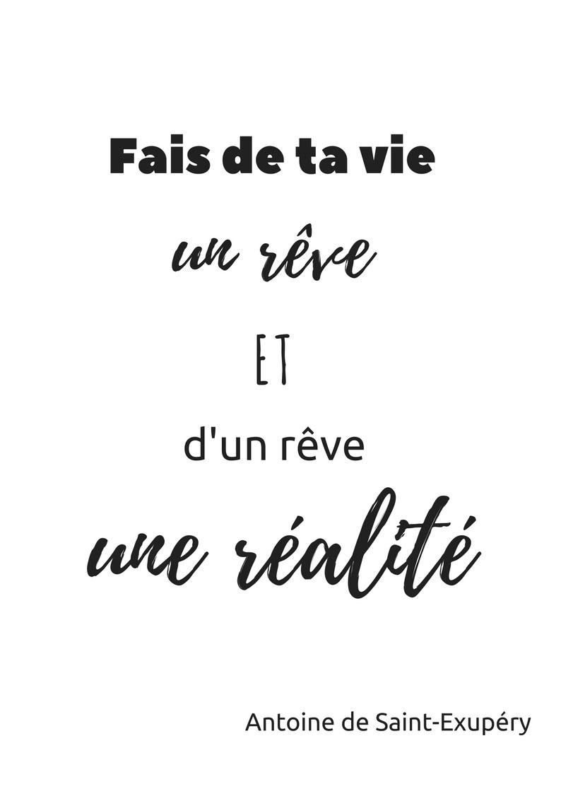 Fais de ta vie un rêve et d'un rêve une réalité - Antoine de Saint Exupéry