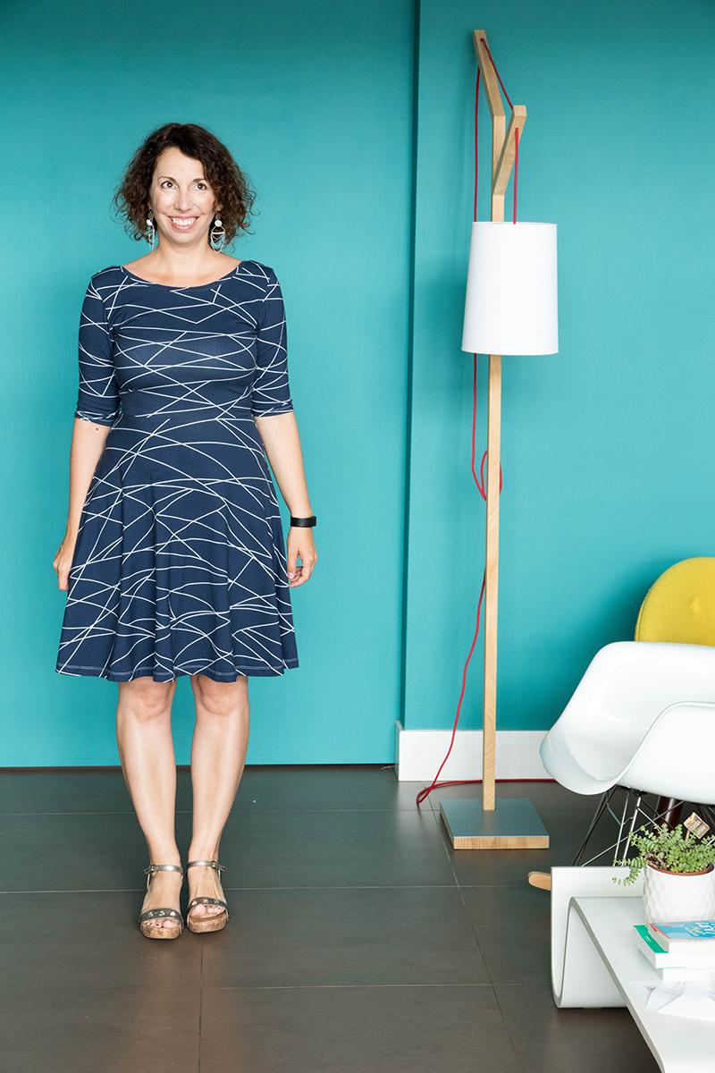 Couture : robe Moneta de colette patterns avec le dos de la robe eden de la maison victor