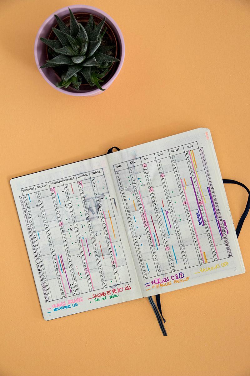 Planning annuel - calendex dans mon bullet journal / Avril sur un fil