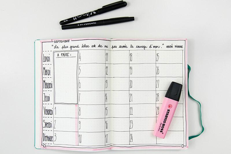 Planning mensuel pour le mois de septembre / Avril sur un fil