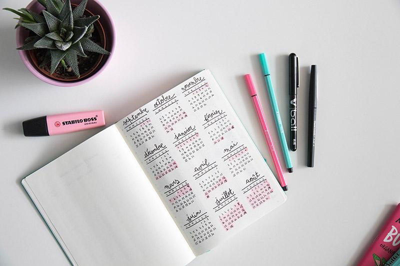 Un calendrier dans mon nouveau Bullet Journal / Avril sur un fil