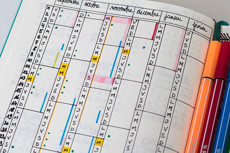 Bullet Journal : Calendrier annuel avec code couleur pour les éléments planifiés
