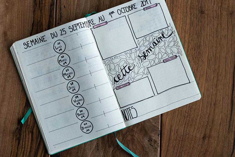 Vue mensuelle Bullet Journal Avril sur un fil