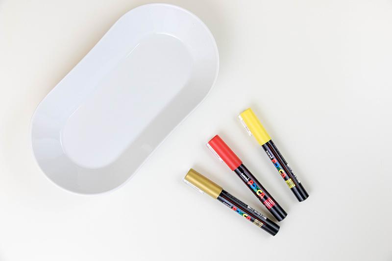Matériel pour ce DIY : décore ta porcelaine au posca - Avril sur un fil