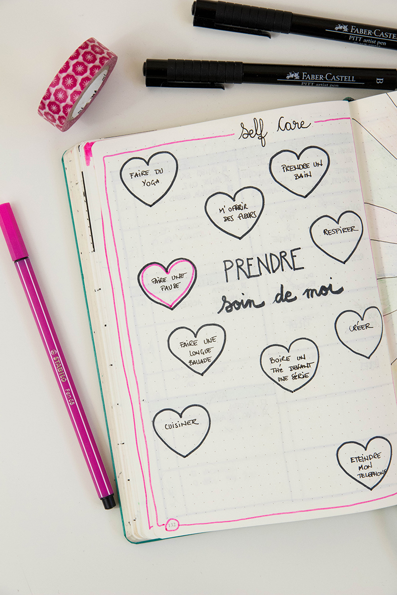 Bullet journal et bien-être : page self care - Avril sur un fil