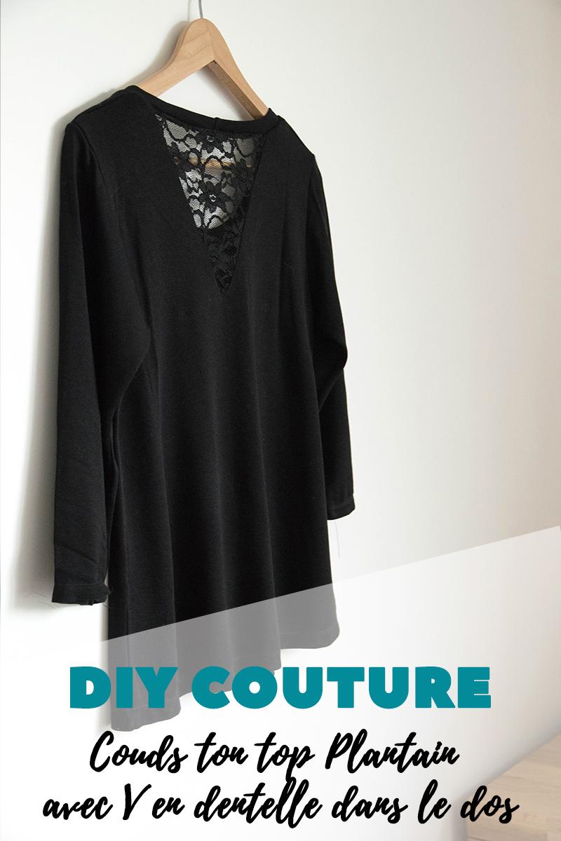 DIY Couture : Couds ton top plantain avec V en dentelle dans le dos - Avril sur un fil