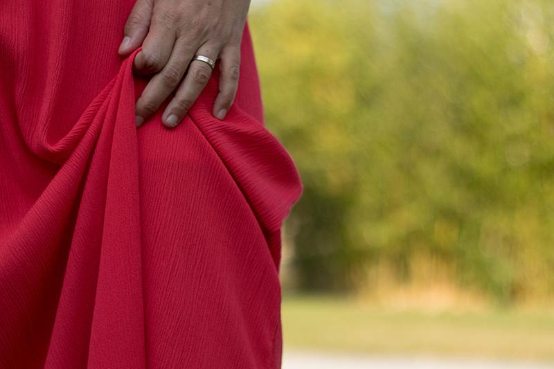 Robe longue en crepon rouge à partir du patron hippie de Vanessa pouzet - avrilsurunfil