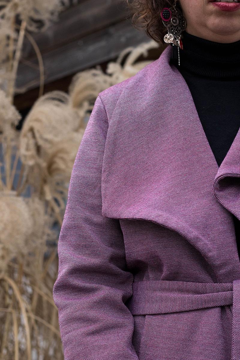 Détail du col châle de mon manteau Olga de Mouna Sew - Avril sur un fil