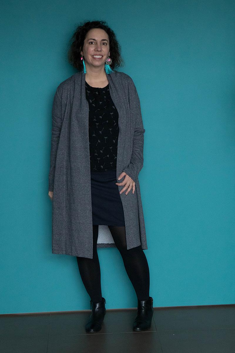 Tenue 7 : jupe Brume, tunique et gilet Cannelle  - Avril sur un fil