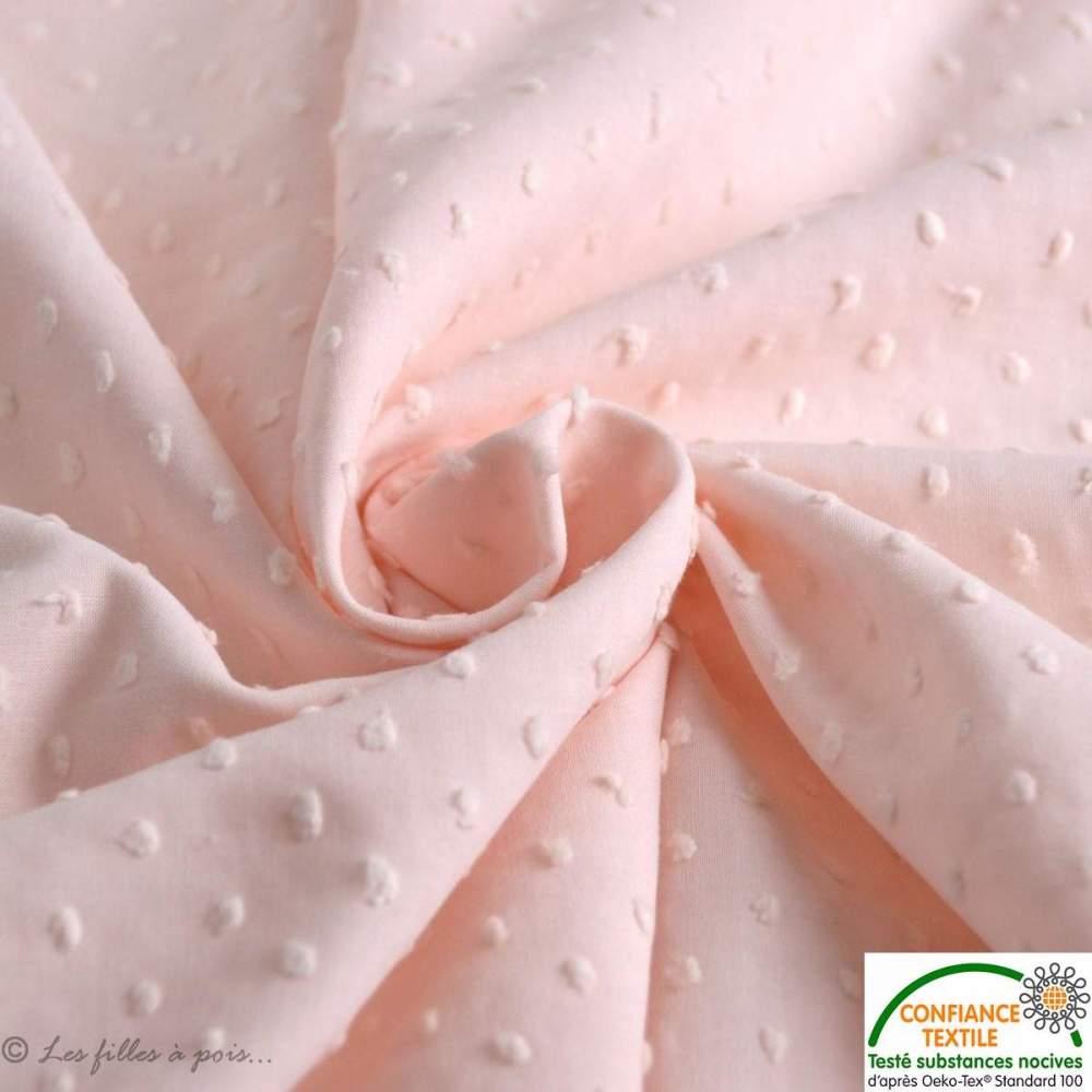 Tissu coton plumetis - Les filles à pois