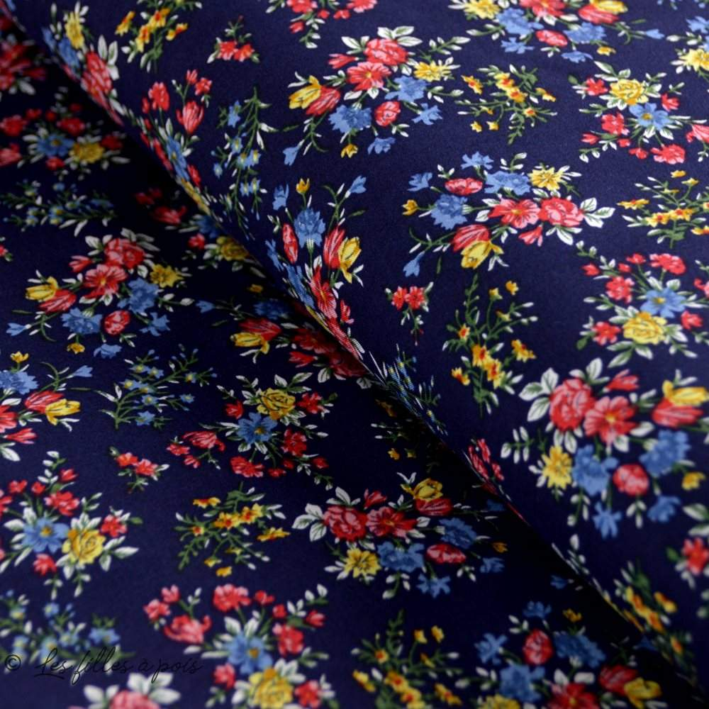 Tissu Viscose fleurie - Les filles à pois