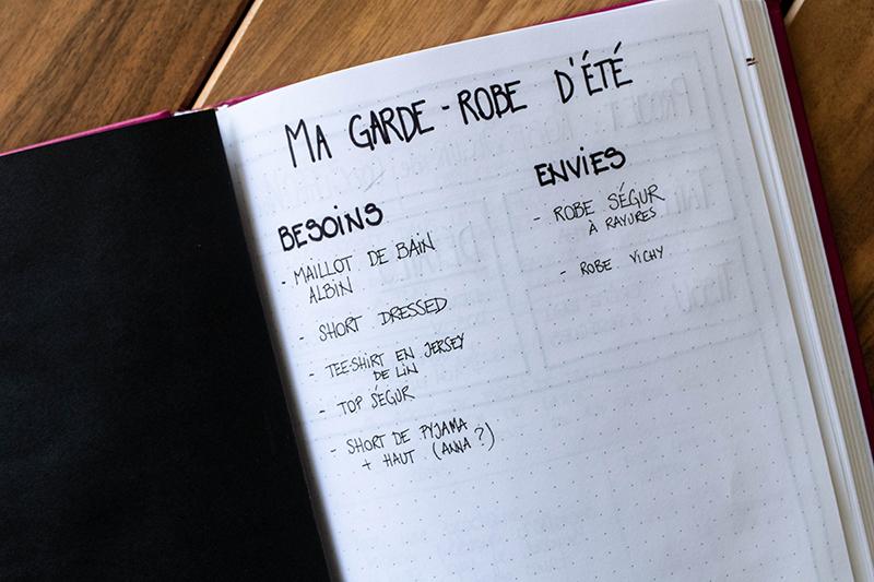 Liste couture Bullet Journal - Avril sur un fil
