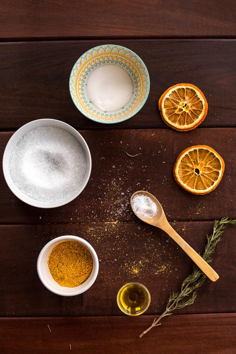 DIY sels de bains orange romarin : ingrédiens - Avril sur un fil